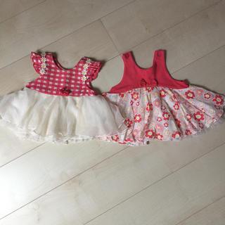 ワンピース チュニック 80 ❤︎ トップス チュール ピンク 赤 花柄