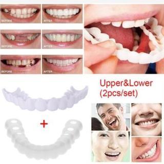 歯のカバー スナップオンスマイル 上歯 下歯 2ピースセット ケース入 付け歯(その他)