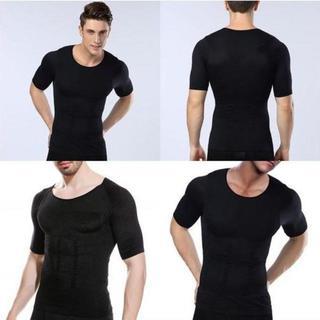加圧シャツ 加圧インナー ブラック 黒 メンズ 半袖 XL(その他)