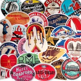 レトロ・ホテル・トラベル Stickers 50枚 A(トラベルバッグ/スーツケース)