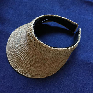 石田製帽 サンバイザー 未使用(麦わら帽子/ストローハット)
