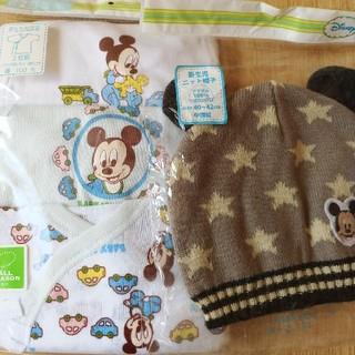 ニシマツヤ(西松屋)の新生児単肌着、ニット帽子(肌着/下着)