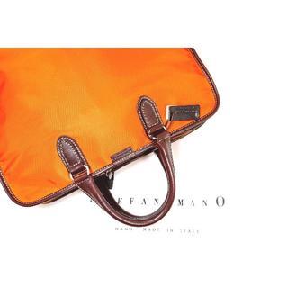 ステファノマーノ(Stefano manO)の♂【新品】ステファノマーノ ブリーフケース オレンジ × ブラウン(ビジネスバッグ)