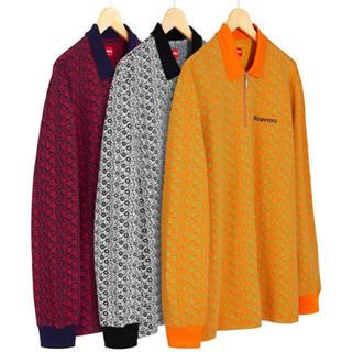 シュプリーム(Supreme)のsupreme floral jacquard zip L/S polo M(ポロシャツ)