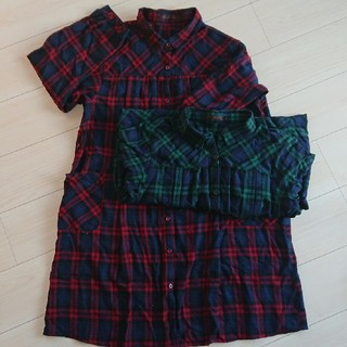 3Lサイズ★授乳口付きシャツワンピース 2着セット(マタニティパジャマ)