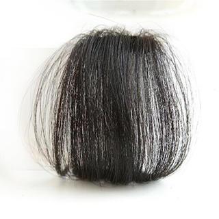 前髪ウィッグ100%人毛 サイドなしナチュラルブラック人毛100% 総手植え(前髪ウィッグ)