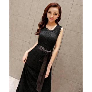 c2f99eac75246 ディーホリック(dholic)の人気♡ロングワンピ ドレス パーティー ノースリーブ レース ブラック(