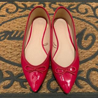 ジーユー(GU)のパンプス 赤 リボン 靴 ポインテッド バレエシューズ 美品(ハイヒール/パンプス)