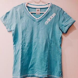 アディダス(adidas)の美品 adidas 半袖 ティーシャツ ブルー 白 ブランド スポーツウェア(Tシャツ(半袖/袖なし))
