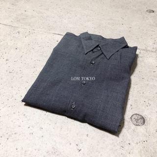 [used]black navy simple design shirt.(シャツ)