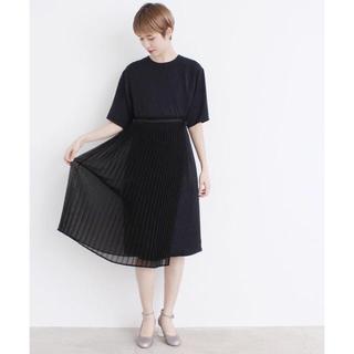 アイアムアイ(I am I)のIamI*ラングサテン プリーツ重ねドレス.ブラック(ひざ丈ワンピース)