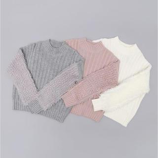 ヴィス(ViS)のVIS♡袖ループ編みニット ホワイト(ニット/セーター)