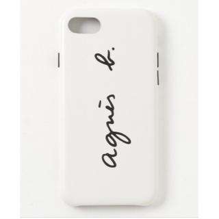 アニエスベー(agnes b.)の新品 agnes b. レザーロゴモバイルケース 白(iPhoneケース)