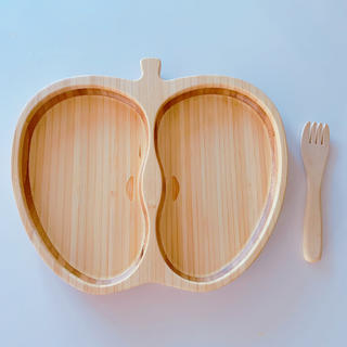 木製 プレート フォーク付き キッズ ベビー(プレート/茶碗)
