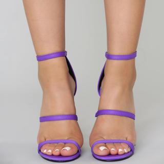 ザラ(ZARA)の新品未使用!fashion NOVA,ヒールサンダル パープル紫 23cm(ハイヒール/パンプス)
