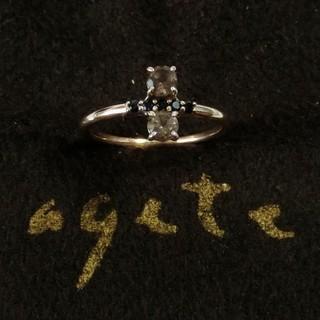 アガット(agete)のアガット スモーキークォーツとブラックスピネルのK10ピンキーリング 5号(リング(指輪))