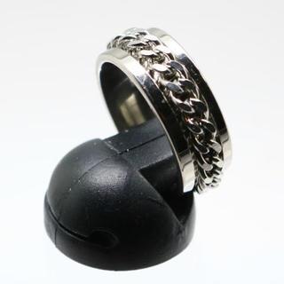 ローリングチェーンステンレスリング シルバー 14号 新品(リング(指輪))