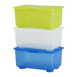 イケア(IKEA)のIKEA GRIS 蓋付収納ボックス 3個入 2セット(ケース/ボックス)