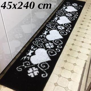 ■45x240cm■【日本製】シック&キュート ハート キッチンマット ブラック(キッチンマット)