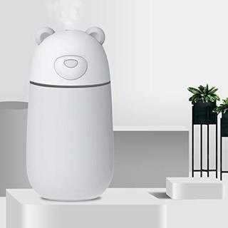 クマのデザインが可愛い♡卓上ミニ加湿器 USB付300mL グレー(加湿器/除湿機)