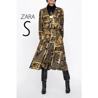 ザラ(ZARA)の【新品・未使用】ZARA フラワー プリント ミディ丈 ワンピース S(ひざ丈ワンピース)