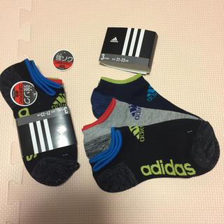 アディダス(adidas)の21 22 23 6足 スニーカーソックス 新品 靴下 ソックス キッズ 子ども(靴下/タイツ)