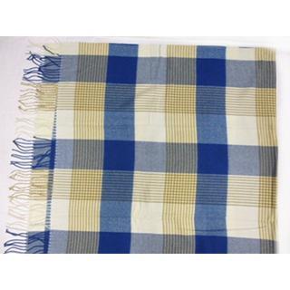 フリンジー付き ソファー ベットカバー 毛布シングル.タータンチェック柄 ブルー(ソファカバー)
