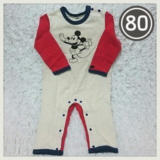 マーキーズ(MARKEY'S)の【新品】MARKEY'S 長袖カバーオール Disney ミッキー 80 (カバーオール)
