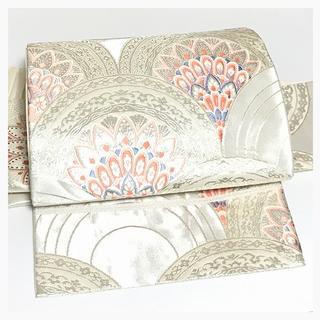 上質 正絹 袋 二重太鼓 作り帯 二部式 刺繍 花模様 簡単装着 中古品(帯)