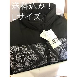 ZARA - ZARA バンダナ柄 パフジャケット Lサイズ 黒 ダウン ザラ ブラック