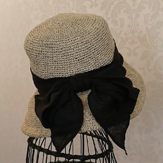 カシラ(CA4LA)のCA4LA 帽子 ベージュ×ブラック (ハット)