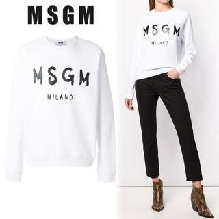エムエスジイエム(MSGM)の【L1】MSGM レディース ホワイト コットン ロゴ スウェット L(トレーナー/スウェット)