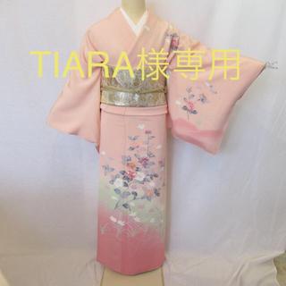 1366ピンクゆったり加賀友禅訪問着と帯、帯揚げ、帯締めTIARA様(着物)