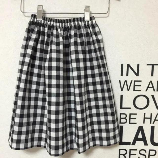GU(ジーユー)のギンガムチェック キッズ ロングスカート  ハンドメイド キッズ/ベビー/マタニティのキッズ服 女の子用(90cm~)(スカート)の商品写真