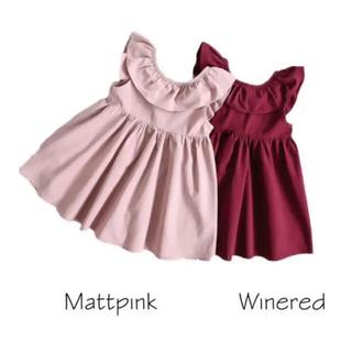 マットピンク110・インポート子供服女の子バックリボンワンピースフリルかわいい(ワンピース)