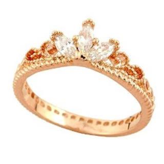 スワロフスキー(SWAROVSKI)の最高級スワロフスキーティアラ 姫 プリンセス 王冠 リング 18金RGP(リング(指輪))