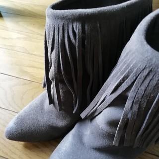 26cmフリンジショートブーツ ブラウン系(ブーツ)