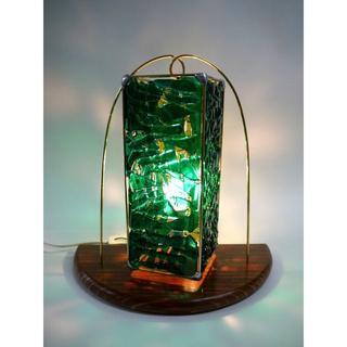 ステンドグラス「緑の釣鐘ランプ」(テーブルスタンド)