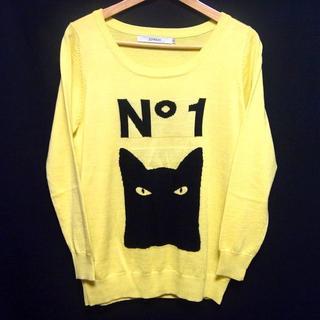 355ee91b4b7b ジョイリッチ(JOYRICH)のJOYRICH ジョイリッチ ニット セーター 薄手 黒猫 ブラックキャット