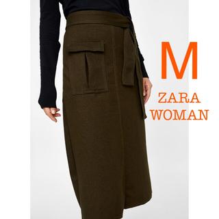 3078dbc0ca9fb9 ザラ(ZARA)の新品未使用 ZARA WOMAN リボン ミモレ タイトスカート カーキ M