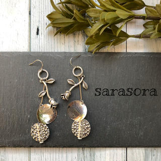 416 silver  rose×antique earrings(ピアス)