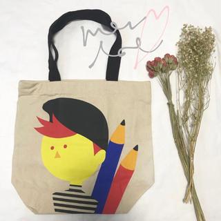 メルロー(merlot)のメルロー 男の子と鉛筆柄キャンバストートバッグ(トートバッグ)