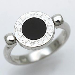 ブルガリ(BVLGARI)の正規品 ブルガリ フリップ オニキス #52 K18WG ダイヤモンド リング(リング(指輪))