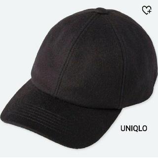 ユニクロ(UNIQLO)のUNIQLO ウールカシミヤキャップ 黒 タグ付き未使用品(キャップ)