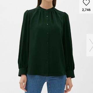 ジーユー(GU)のGU バンドカラーシャツ グリーン サイズS(シャツ/ブラウス(長袖/七分))