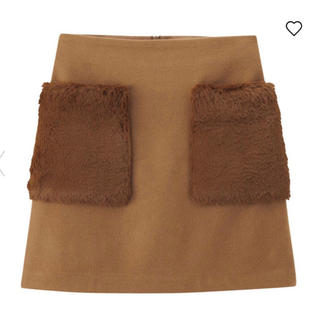 GU - ファーポケットミニスカート ブラウン S GU