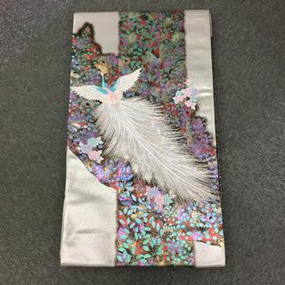正絹 六通袋帯 孔雀 火の鳥 美品  C-40(帯)