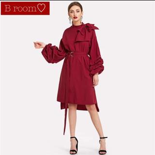 ザラ(ZARA)のフォーマル ワンピース 赤 リボン ベルト(ミディアムドレス)