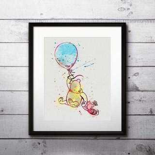 Disney - くまのプーさん&ピグレット2・アートポスター【額縁つき・送料無料!】