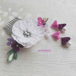 小さめ上品な髪飾りシリーズ ひだつまみ白(ヘアアクセサリー)